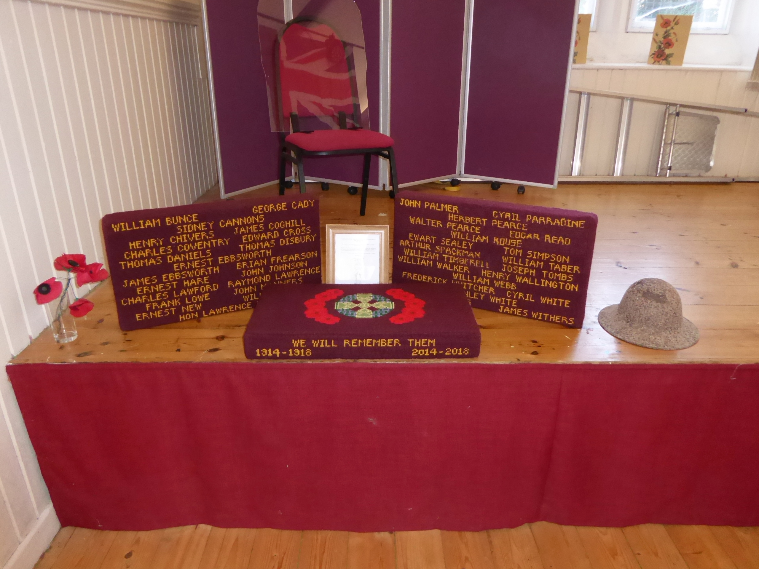 ALTER KNEELERS DISPLAYED IN THE VILLAGE HALL