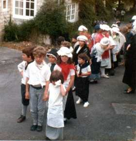 Lining up in front of the Church (includes Philip Whiteman, Nathan & Katy Reade and Amy Leon)